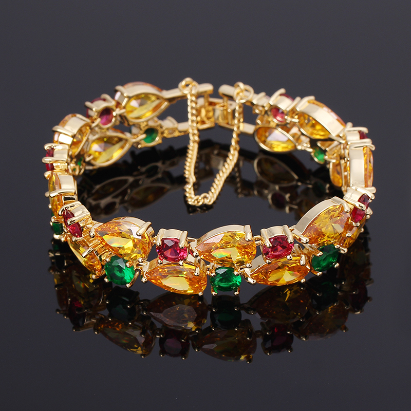 2016 New Multicolor Cubic Zirconia Wedding Bracelets for Women 18K Gold Plated Fashion Bangle Bracelet