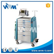 hospital plastic resuscitation trolley cart, medical injection trolley