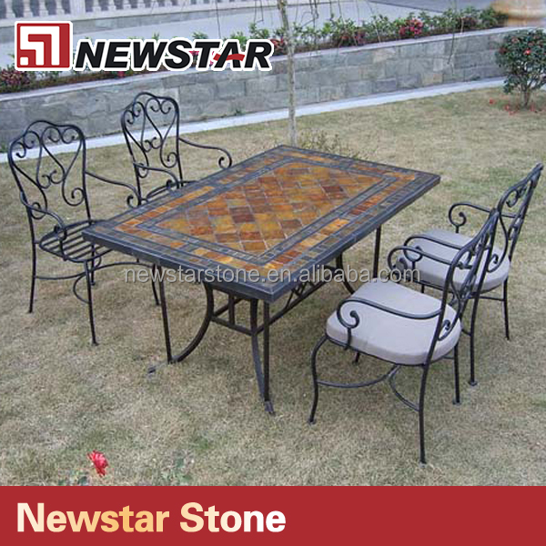 Newstar supply Stone Mosaic Furniture Mosaic Table Slate mosaic table