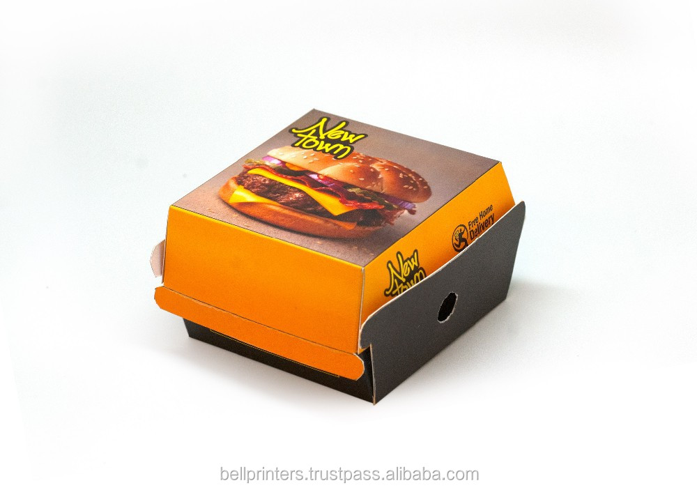 burger paper box/folding paper hamburger box/folding burger box