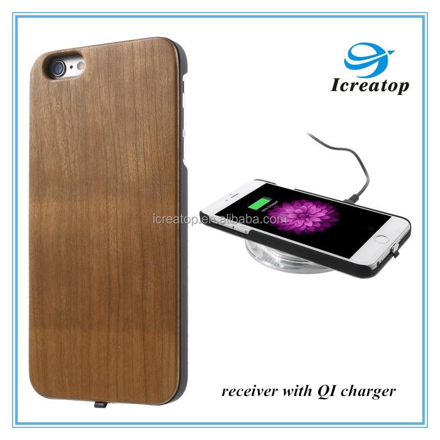 QI standard wireless charger receiver module pad for iphone 6/6plus ,QI receiver wood case for iphone 6 case