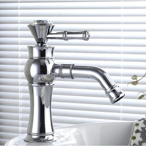 Tall Bathroom Basin Faucet Single Crystal Handle Swivel Spout Mixer Tap