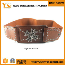 New Arrival Wide Elastic Studded Ladies Belt Customized Leather Strape Fashion Cross Buckle Belt For Woman