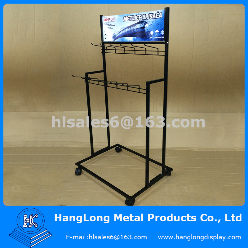 Metal Hanging Wiper Blade Display Stand with Wheels