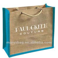 jute bag with grommeted short cotton cord handle