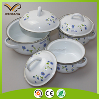 Carbon steel enamel casserole set white coating enamel cookware