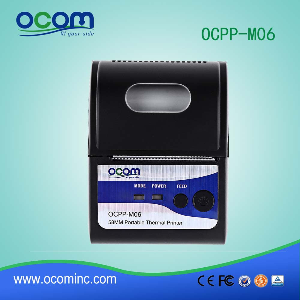 OCPP-M06: China cheap bluetooth micro ticket invoice small thermal receipt termal printer pos58 for mobile smartphone