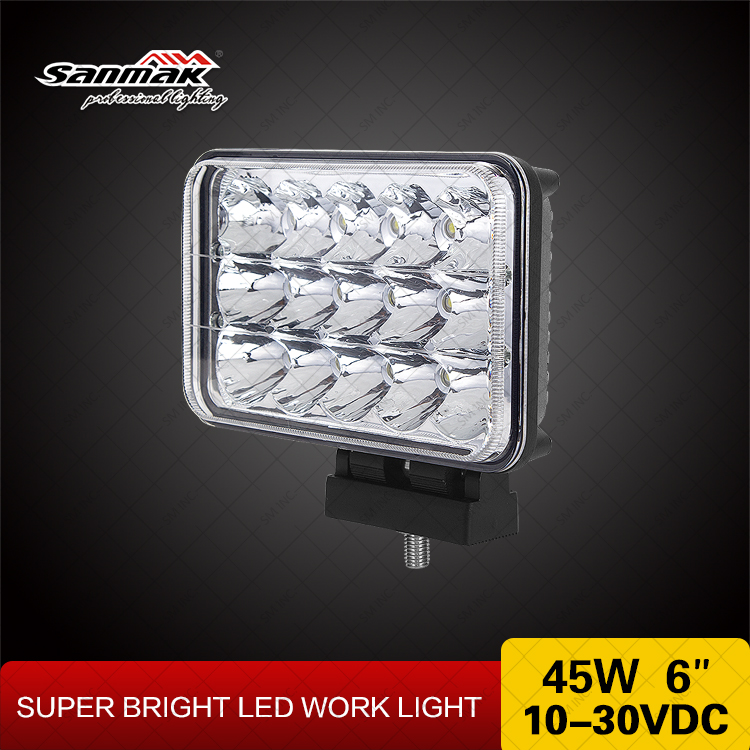 High efficiency waterproof 4x6 inch high low beam jeep led headlights 45W for motorcycle