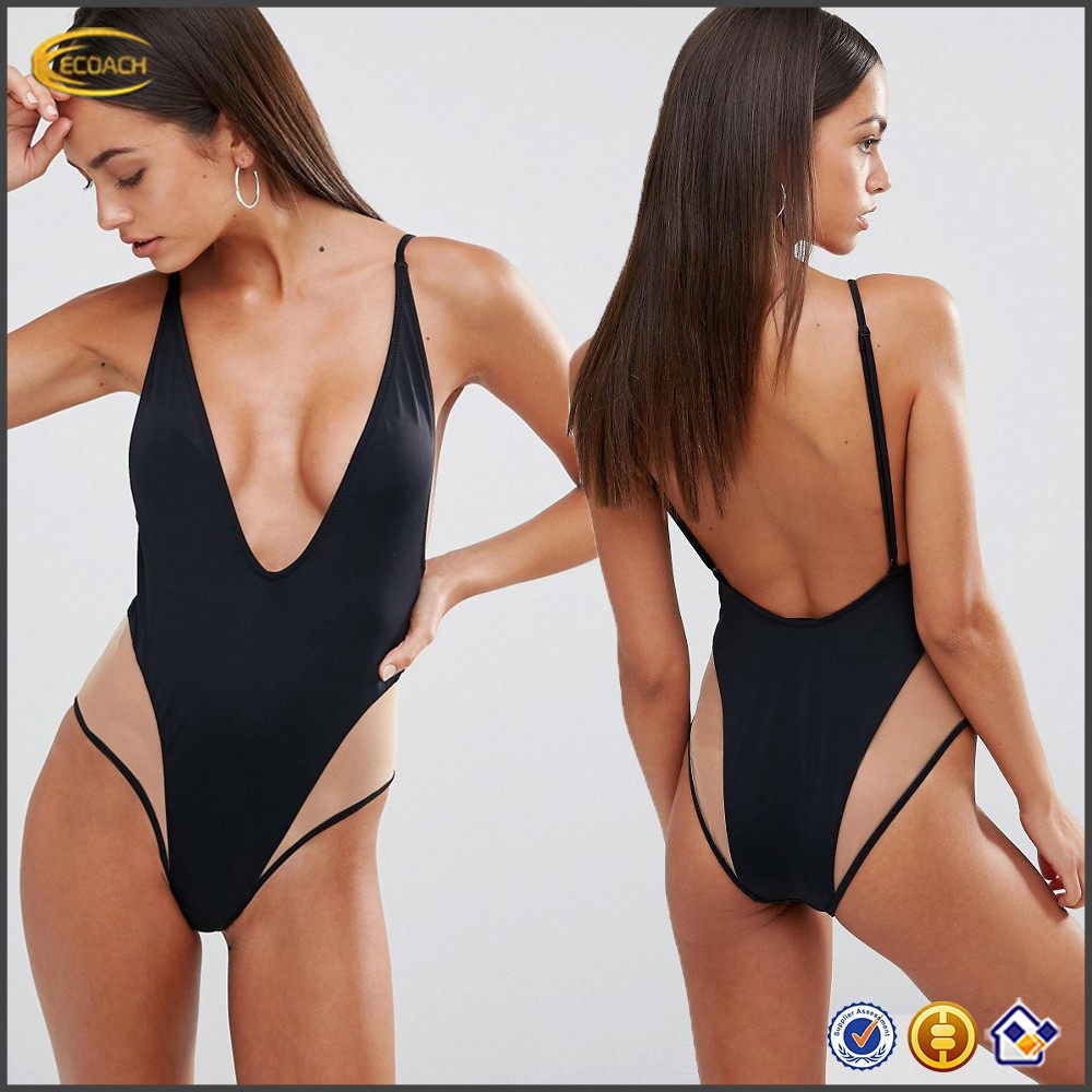 Ecoach 2017 new arrival women summer sexy mesh insert plunge low back high cut leg one piece swimsuit