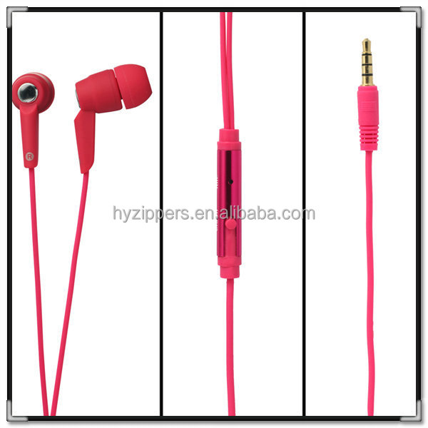 custom stereo 3.5mm in-ear zipper earphone mobile phone accessory