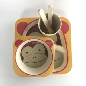 monkey unbreakable dinnerware set bamboo fibre animal shape kids dinner set Eco-friendly Baby dinenr set