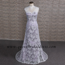 Europe high neck illusion lace backless A-line wedding dress bridal dresses