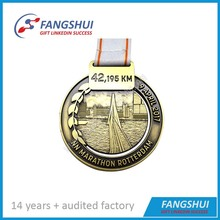 Antique bronze plating Zinc alloy cheap medals made in china, lanyard attached marathon medal