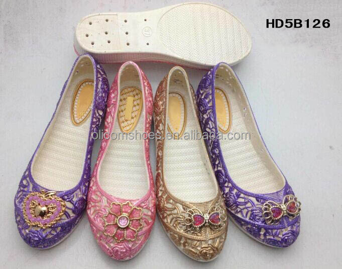 2015 China factory PCU women shoes with decoration on the upper