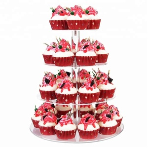 Round or Square Clear Acrylic Wedding Cake Stand Wholesale Cupcake Display Stand