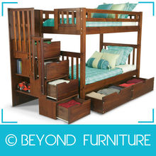 Single Size Pine Timber Hostel Bunk Beds with Storage