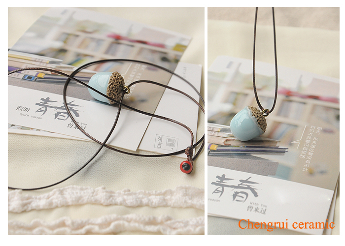 Pineal Necklace ceramic necklace pendant handmade snack necklace DIY special cute charm pendant