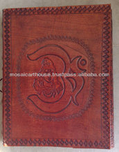 Gift Beautiful Genuine Hand Crafted Leather Diary Shiva Aum Peaceful Pattern