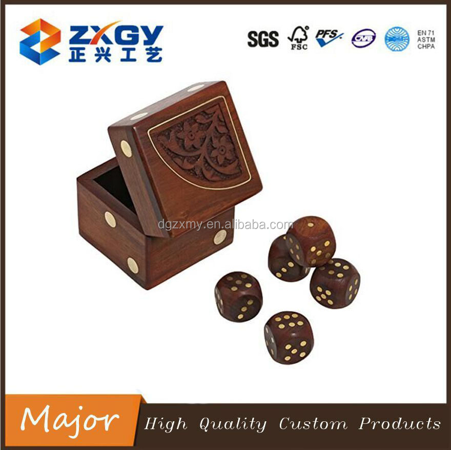 Handmade Wooden Dice Game Set with Decorative Storage Box for Adult