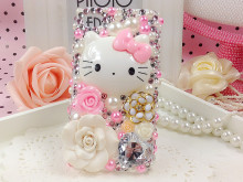 3D Bling Crystal Luxury Rhinestone Pink Hello Kitty Diamond case for HTC phone case
