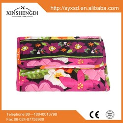 hot selling folding purse,high quality red floral quilted cotton fabric wallet