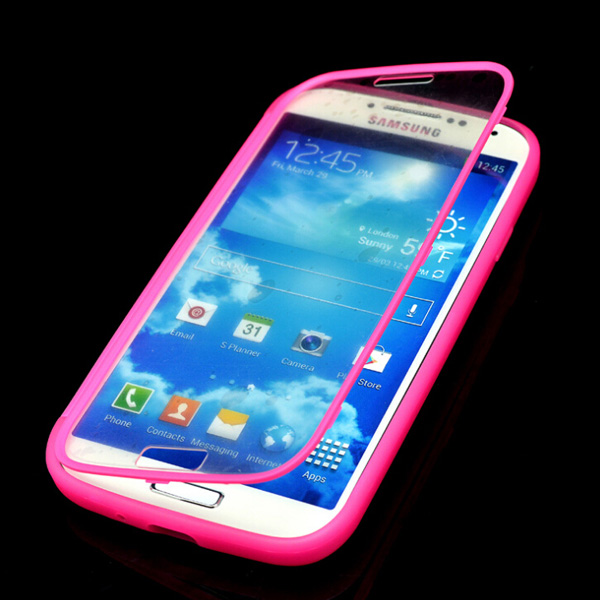 High Quality Unique 2 in 1 Slim Flip Wrap Up Soft Gel TPU Touch Screen Case For Samsung Galaxy S4 I9500 for Girl