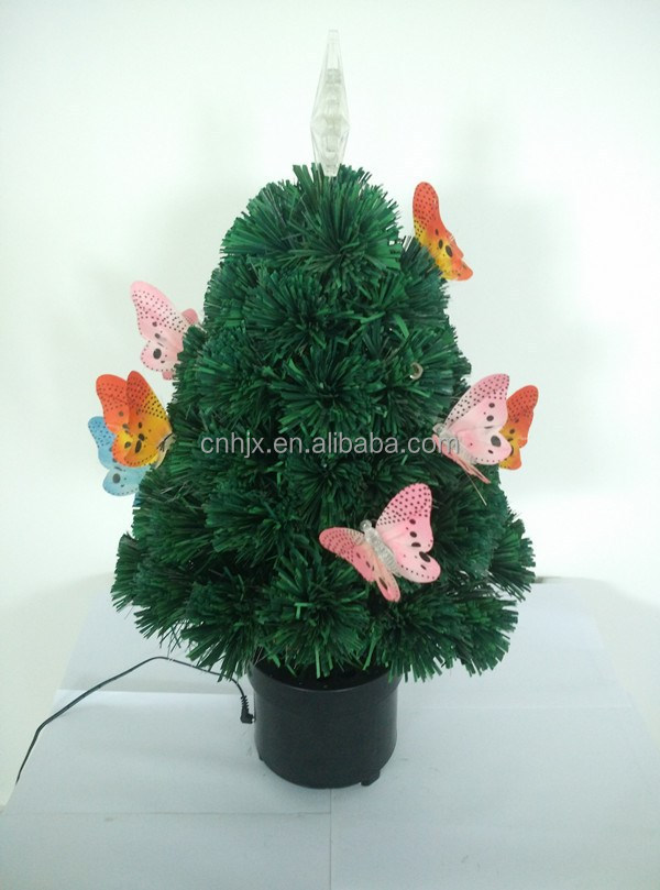 Beautiful Butterfly Decorative Potted Optic Fiber Artificial Xmas Tree