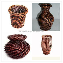 chocolate wicker flower vase for garden decoration