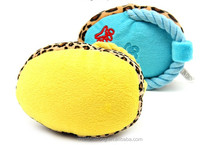 Practical Slipper Shape Pet Dog Toys For Chew New Designs Blue Yellow Plush Sound Squeaker Toy For Dogs Boutique Retail