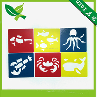 6pcs a set PP drawing stencil for children