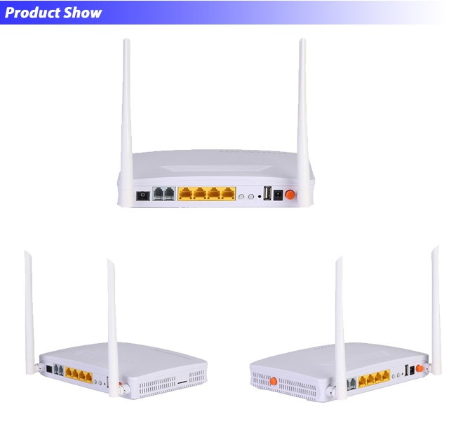 4 Ethernet Data + 2 Telephone Port + USB + WiFi GPON ONU L3 Support Bridge, Route, Mixed Mode
