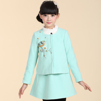 Folk-Custom Girls Winter Clothes Suit Include Long Sleeve Emobroidery Top And Skirts Prpmotion Kids Clothing CS81109-74