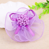 Hot Selling Wedding Decoration Artificial Pom poms Flower with lace ribbon bow wholesale