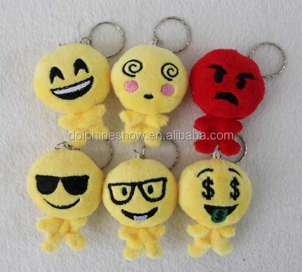 Cartoon cute cheap wholesale soft stuffed custom plush emoji keychain