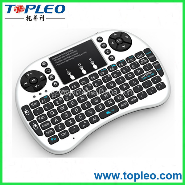 white RII Mini I8+ wireless keyboard 2.4g Qwerty touchpad mouse