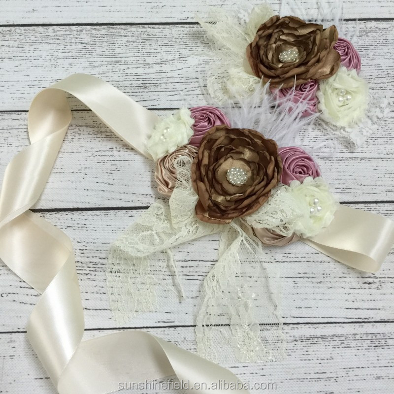 Satin Flower Sash and Macthing Headband set Photography Props