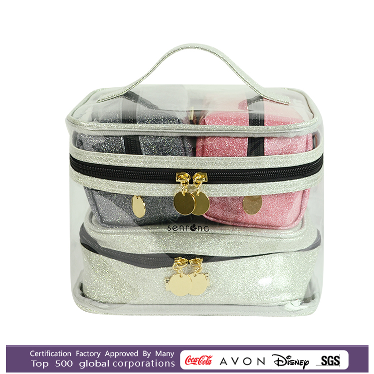 The Best Design custom wholesale makeup travel bag Transparent Clear PVC cosmetic bag