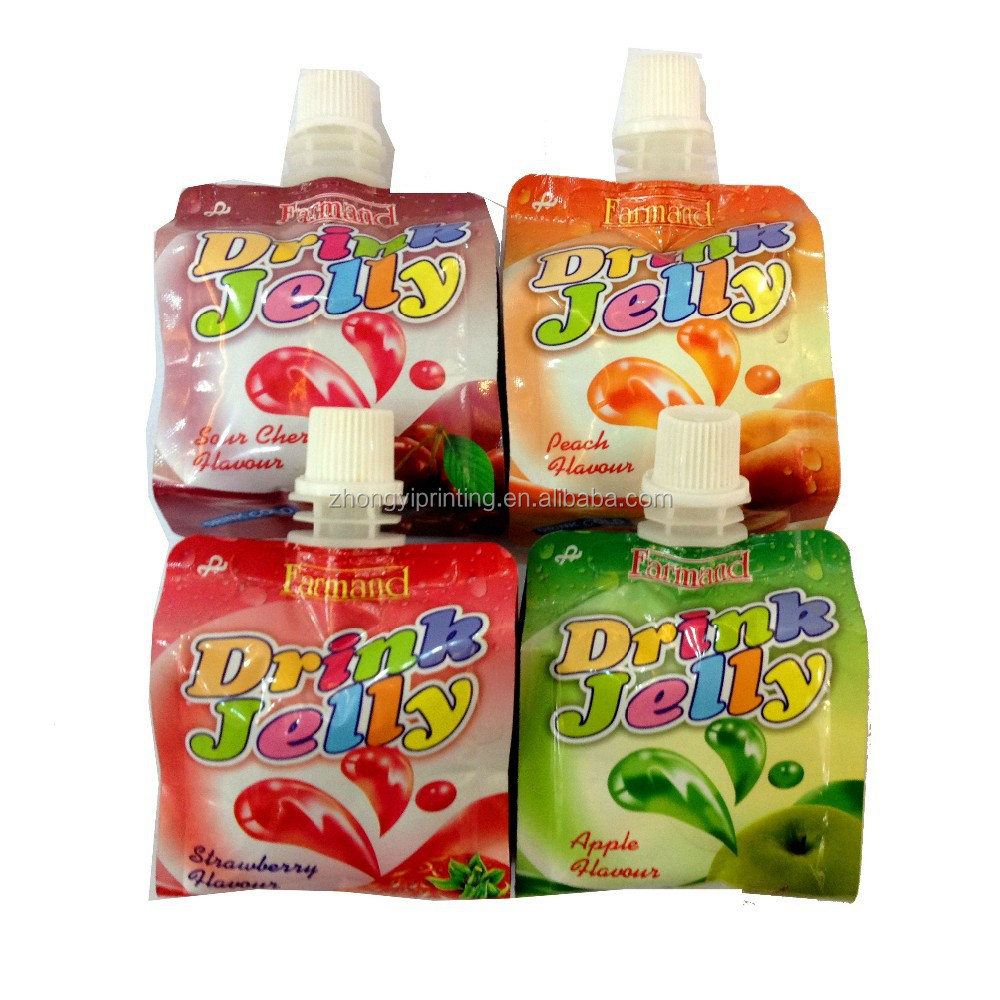 Jelly plastic food packaging bag,center spout tup side-gusset plastic bag,packing&printing with QS/OEM/ISO certification