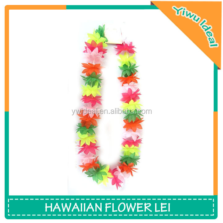Custom Polyester Party Artificial Hawaii Silk Flower Leis
