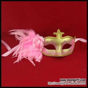High quality glitter shinning mask pink/gold feather mask party supplies