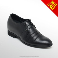 2015 F.W. New Arrival Men Dress Shoes For Height Increasing High Quality Lift Shoes Soft Leather In Black