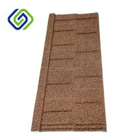 Roman Stone Covering Metal Roof Tiles / Colorful Coated Stone Coated Metal Roof Tiles