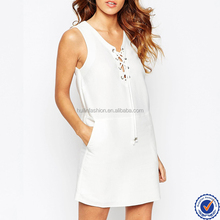 women fashion cheap casual plain white dress lace up eyelet dresses in white