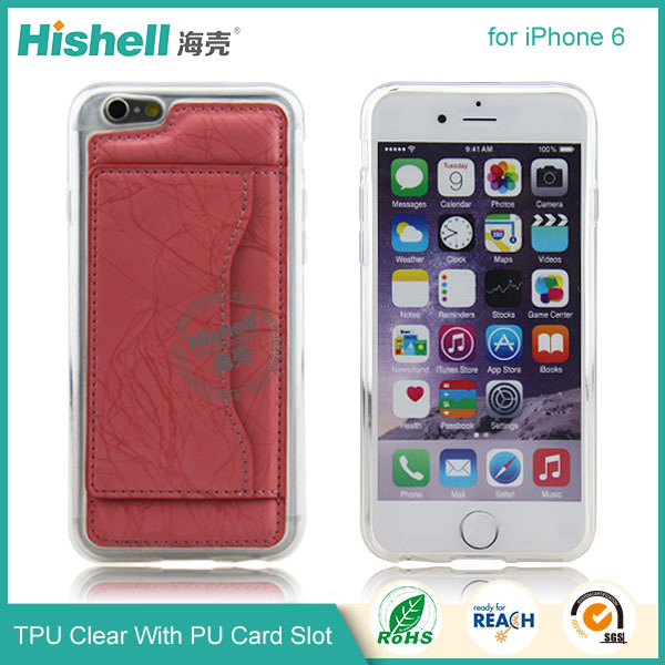 ultra slim paper tpu clear case with PU card solt for iphone
