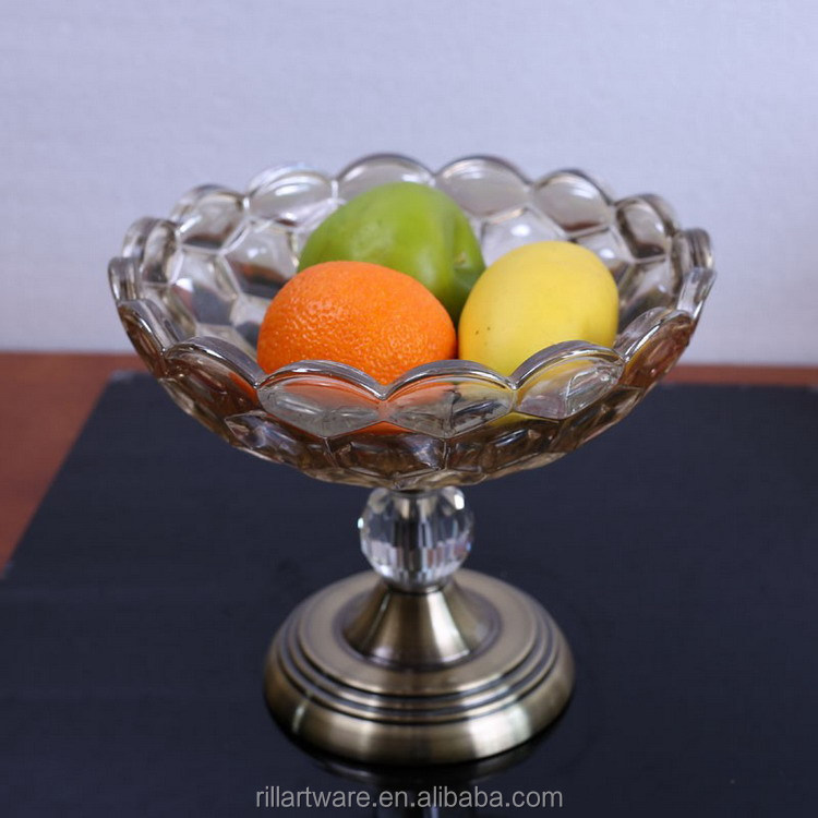 Antique bronze crystal glass fruit bowl with metal stand for wedding decoration