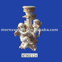 Traditional cherub resin angel candle holder
