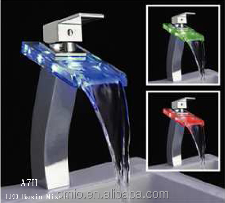 Single lever sink led basin faucet