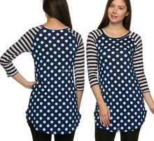 casual women Polka Dot Body Stripes 3/4 Sleeves Tunic Top long bodice round hemline fashion blouses summer designs