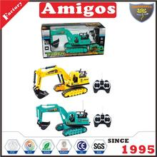 plastic toy excavator blue/yellow kids RC engineering truck