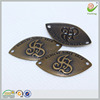 2 holes embossed logo antique brass metal sewing label